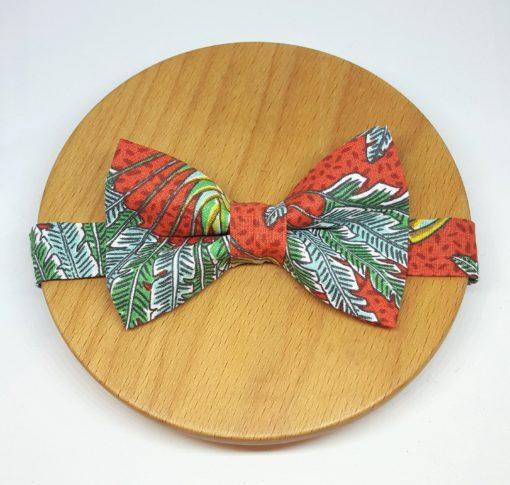 noeud papillon coton jungle feuilles rouge bleu vert