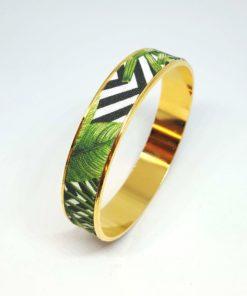 bracelet jonc doré coton rayures noir blanc feuilles jungle vert