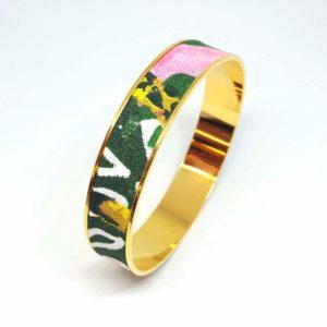 bracelet jonc doré coton fleurs animaux jungle aquarelle rose vert bleu jaune