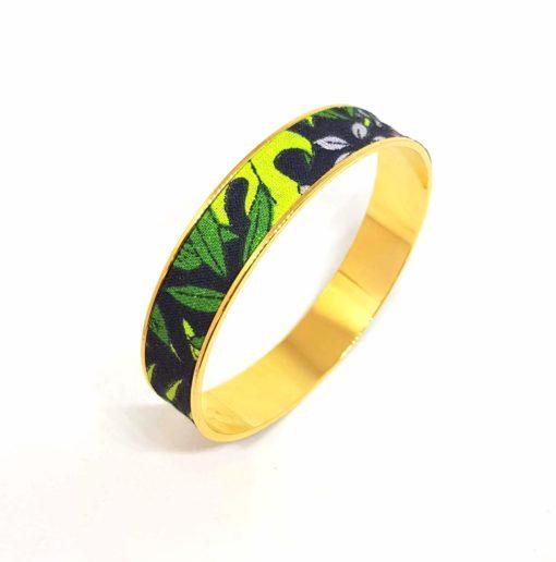 bracelet jonc jungle doré coton feuilles noir vert