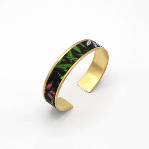 bracelet manchette fin jungle vert noir rose