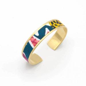 bracelet manchette tissu aquarelle rose bleu jaune feuilles