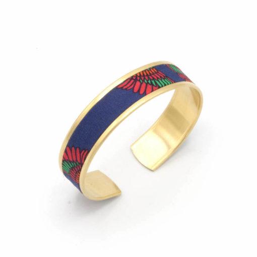 bracelet mexicain tissu oiseaux rouge bleu vert