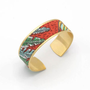 bracelet manchette laiton tissu feuilles jungle rouge bleu vert
