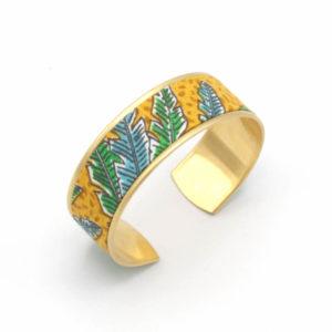 bracelet manchette feuille jungle jaune bleu vert