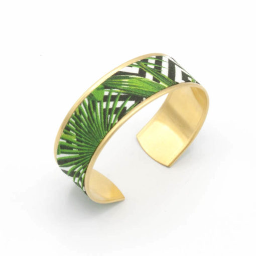 bracelet manchette tissu jungle feuilles triangles vert noir blanc