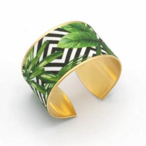 bracelet manchette laiton tissu jungle feuilles vert noir blanc