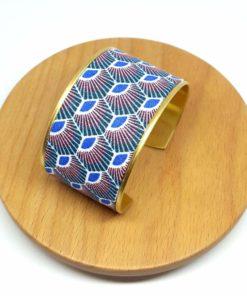 bracelet manchette laiton coton éventail bleu vert rose