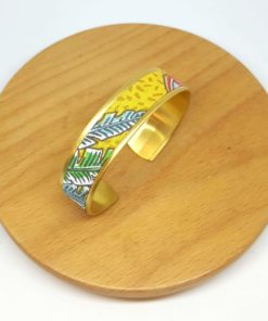 bracelet manchette laiton doré coton jungle feuille jaune bleu vert
