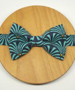 noeud papillon bleu turquoise éventail plumes art déco bleu