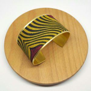 bracelet manchette laiton doré coton wax pagne zèbré jaune moutarde rouge bordeaux
