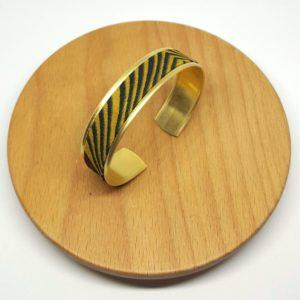 bracelet manchette laiton doré wax pagne africain zèbré jaune moutarde rouge bordeaux