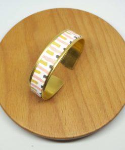 bracelet manchette laiton doré coton jaune rose gris vert graphique pastele