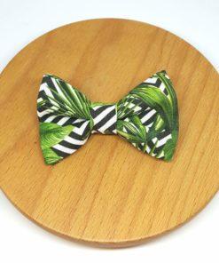 pince barrette noeud rayures noir blanc feuilles vert