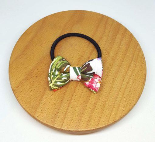élastique noeud jungle feuilles fleurs vert rose