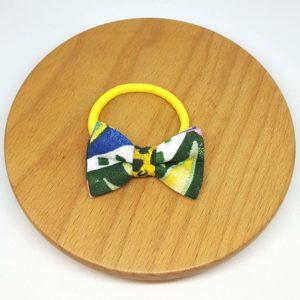élastique noeud accessoire cheveux jaune vert feuilles fleurs aquarelle