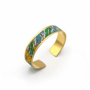 bracelet manchette jungle jaune feuilles vert bleu