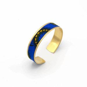 bracelet manchette laiton wax bleu jaune