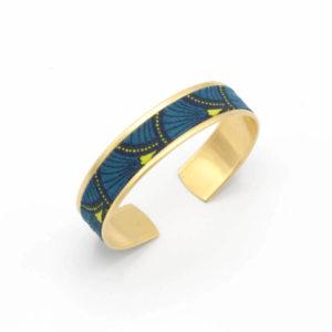 bracelet tissu bleu éventail