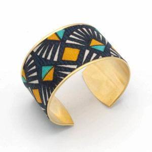 bracelet manchette laiton tissu graphique triangles gris jaune bleu