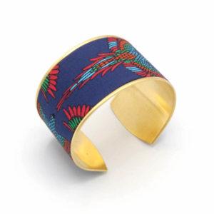 bracelet manchette doré tissu mexicain oiseaux bleu rouge vert bleu