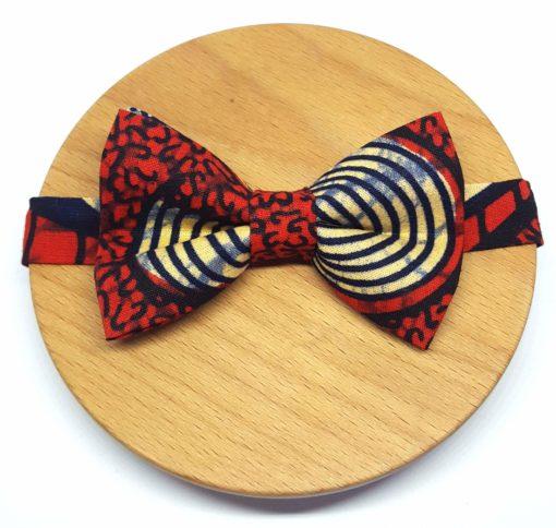 noeud papillon wax pagne cercles rouge noir beige