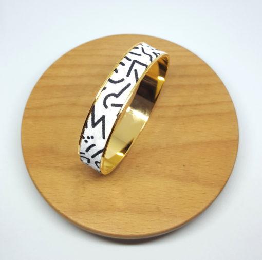 bracelet jonc doré coton blanc noir couleurs