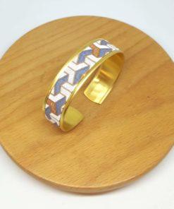 bracelet manchette fine laiton doré coton gris blanc cuivré