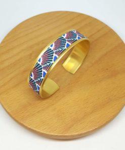 bracelet manchette laiton doré coton japonais éventails bleu rose