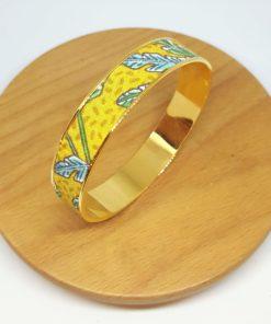 bracelet jonc laiton doré coton feuilles jaune vert bleu