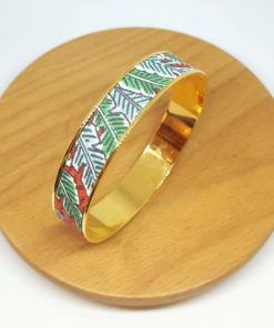 bracelet jonc laiton doré feuilles jungle rouge vert bleu