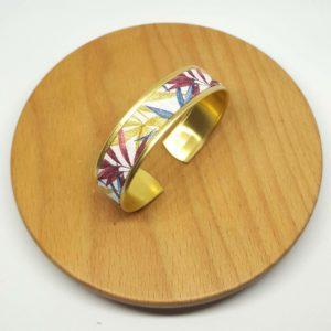 bracelet manchette laiton doré coton feuilles rose bleu jaune