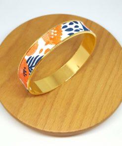bracelet jonc doré coton fleurs coquelicot orange rouge bleu marine