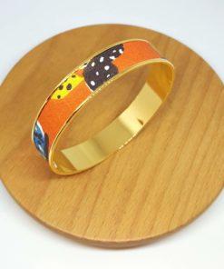 bracelet jonc doré cactus mexique orange bleu jaune marron
