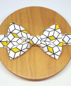 noeud papillon graphique géométrique jaune blanc