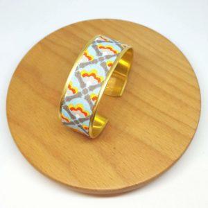 bracelet manchette doré coton bleu ciel jaune rouge gris