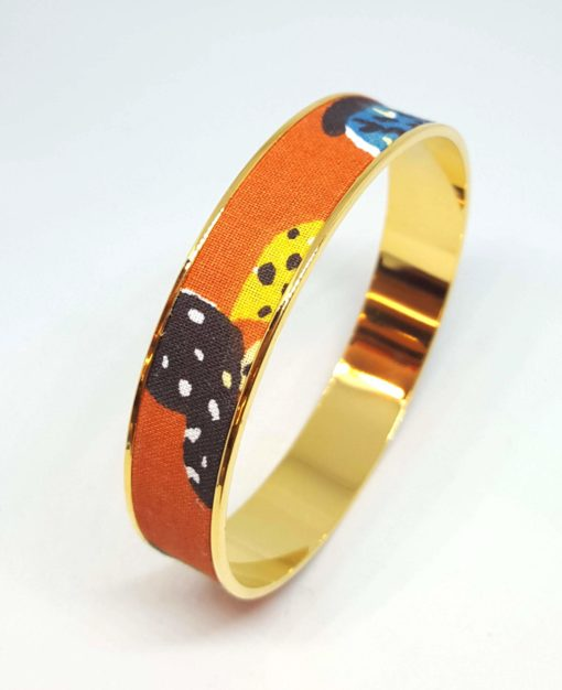 bracelet jonc doré orange cactus mexique jaune marron bleu