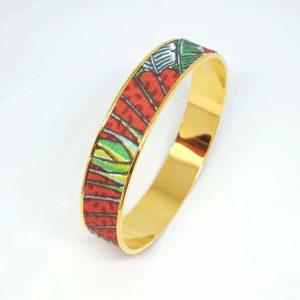bracelet doré coton fleurs feuilles rouge vert bleu jungle