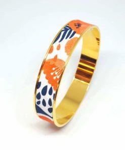 bracelet jonc doré coton fleurs coquelicots orange rouge bleu marine