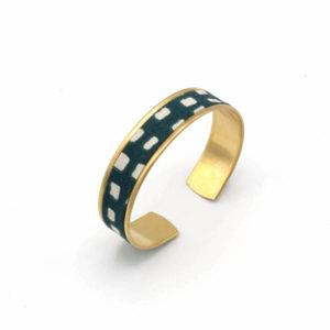 bracelet manchette fine bleu blanc carreaux