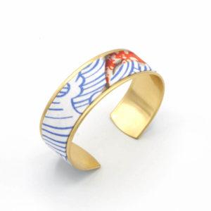 bracelet manchette tissu japonais vagues bleues poisson rouge