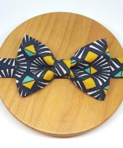 noeud papillon graphique triangles vagues gris jaune bleu