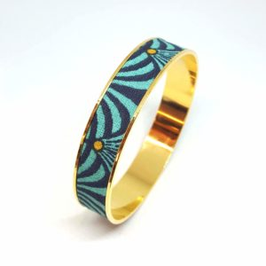 bracelet jonc doré laiton éventail bleu turquoise noir jaune