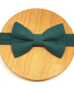 noeud papillon uni coton vert bouteille