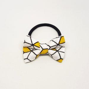 élastique noeud accessoire cheveux jaune blanc noir