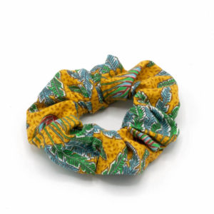 chouchou elastique jungle feuilles jaune vert bleu