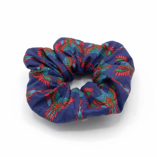 chouchou accessoire cheveux bleu violet rouge oiseaux