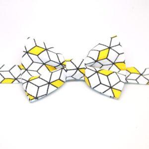 noeud papillon graphique cube noir blanc jaune