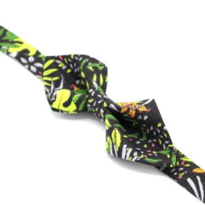 noeud papillon pointes jungle feuilles noir vert orange