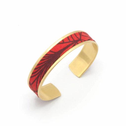 bracelet manchette fine feuille rouge